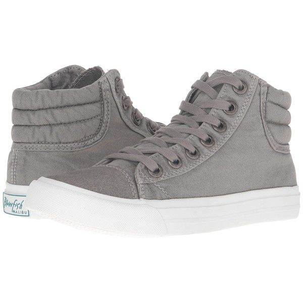 Blowfish Madras (Grey Color Washed Canvas) Women's Lace up casual... ($39) ❤ liked on Polyvore featuring shoes, sneakers, high top sneakers, grey sneakers, hi tops, canvas sneakers and high top canvas sneakers
