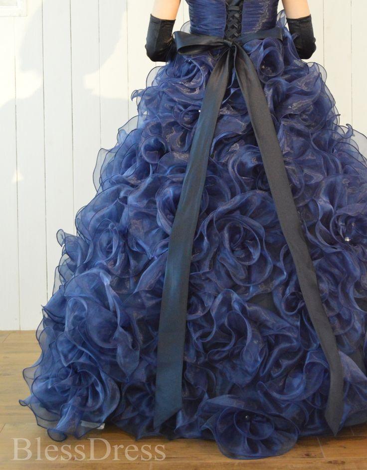 【楽天市場】【大阪店でご試着可能】ウェディングドレス カラードレス ロング・ネイビー ブルー 紺色 バラ お花モチーフ・プリンセスライン 二次会nfl-order-p041(5号,7号,9号,11号,13号)お呼ばれ・結婚式・披露宴 ボリューム:ウェディングドレスBlessDress
