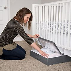 Fits under most standard-sized cribs.• Windowed lid allows for visibility without opening•Folding lid allows access without having to remove storage box from under the crib