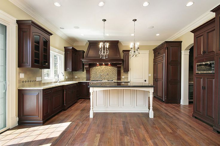 Large Kitchen With Two Tone Wood Color Theme Custom Wood Island And Two Types O Cherry Cabinets Kitchen Dark Wood Kitchens Kitchen Design Ideas Dark Cabinets