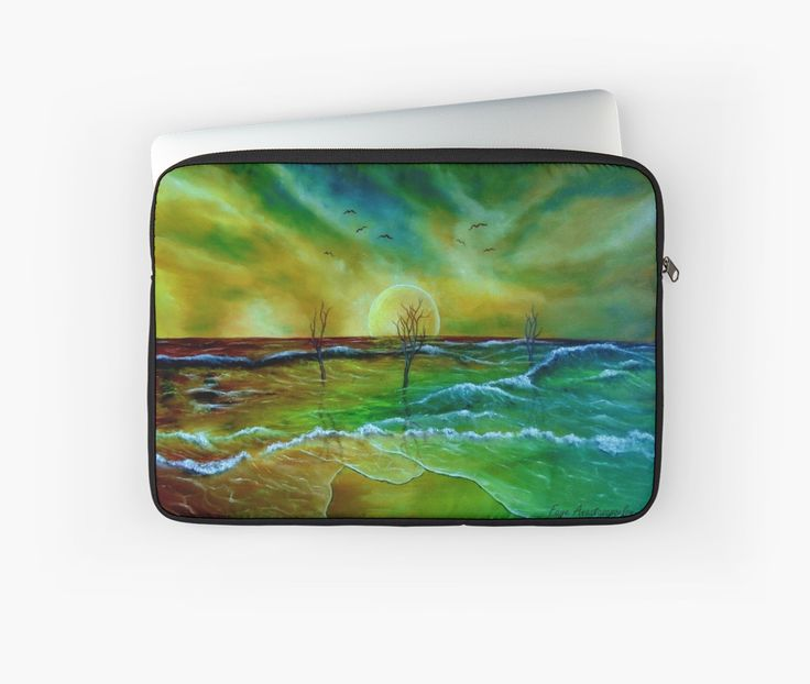 Laptop Sleeve,  sea,waves,sky,coastal,sunset,nature,impressive,fantasy,colorful,green,golden,blue,unique,cool,beautiful,trendy,artistic,unusual,accessories,design,items,products,for sale,redbubble