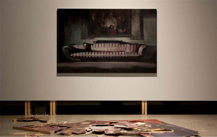 """Nacho Martín Silva.""""Nothing will be like before"""". Painting/ Installation. Oil on canvas/oil on wood. 200 x 250 x 270. Installation view at Matadero Madrid. 2012."""