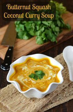 Butternut Squash Coconut Curry Soup! #Vegan #Vegetarian
