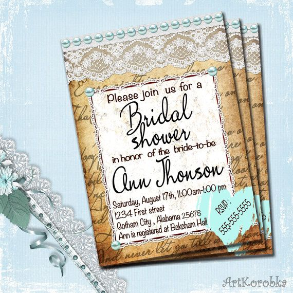 Bridal Shower Invitation  Vintage Invitation  by Artkorobka