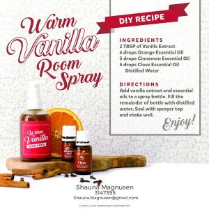 Visit the website for more DIY Fall gifts! http://yldist.com/shaunamagnusen/3-diy-fallholiday-gifts-for-the-spa-lover-that-wont-break-the-bank-free-labels/ DIY Warm Vanilla Room Spray DIY Recipe Young Living essential oils