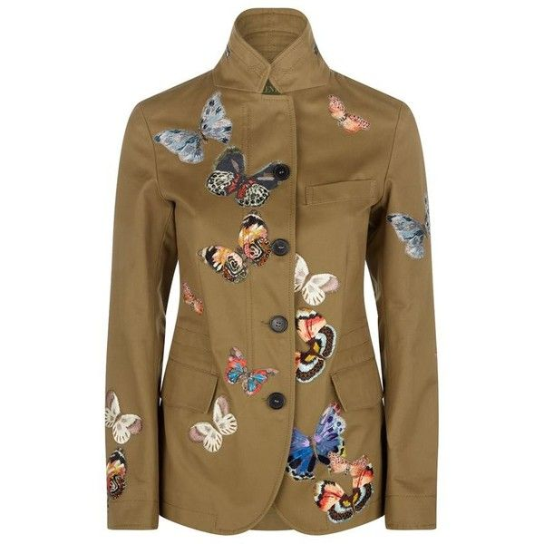Valentino Butterflies Field Jacket (79 795 UAH) ❤ liked on Polyvore featuring outerwear, jackets, fitted jacket, military field jacket, brown jacket, ruffle jacket and valentino jacket