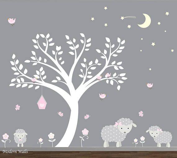 Sticker Arbre Blanc Avec Des Agneaux Stickers Murales Avec Images
