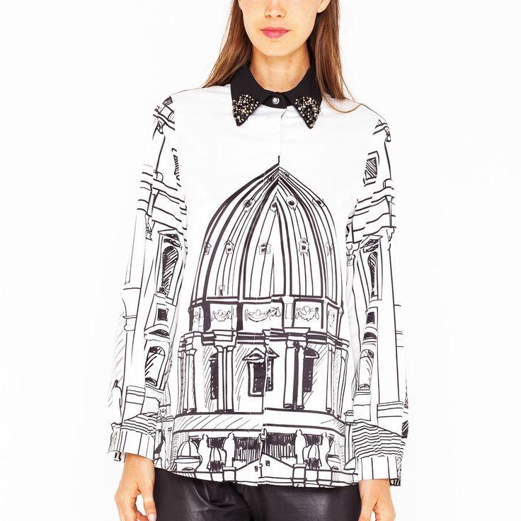 """Camicia oversize con stampa """"Cuppolone"""" e colletto in pizzo e gioielli. Art. GL-134"""