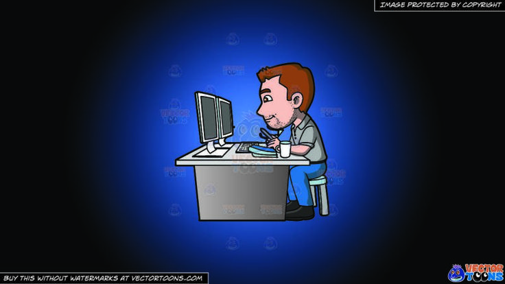 A Graphic Artist Doing A Project On The Computer On A Blue And Black Gradient Background:   A man with brown hair and facial stubble wearing a gray polo shirt denim blue jeans and black shoes sits on a sky blue and gray stool behind a gray desk while working using a white computer with two monitors a white tea cup and blue pad is placed on top of the table left hand holding a gray pen as his right hand holds a pair of eyeglasses