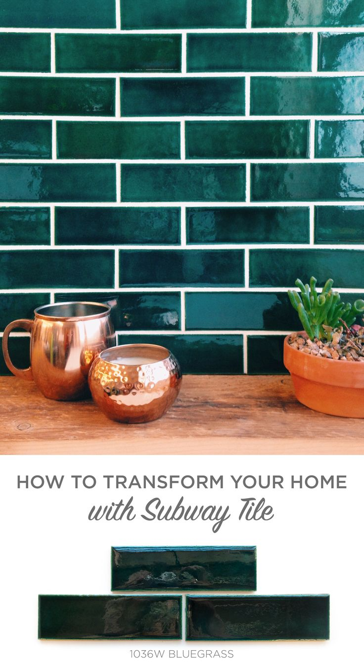 Subway Tile to swoon over! Lose the white and use Bluegrass for a rich and deep blue green color with high gloss. Handmade tile has a unique look and pairs beautifully with copper kitchenware, house plants, and rustic barn wood.