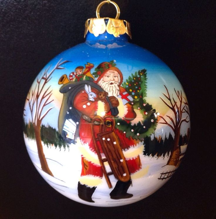 Hand Painted Santa Ornaments