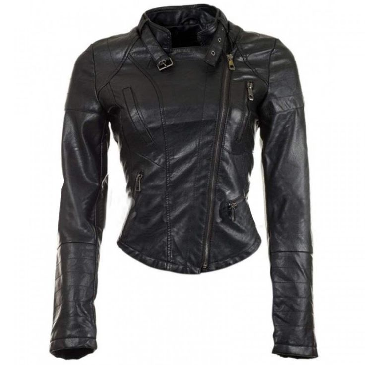Biker Womens Cropped Leather Jacket
