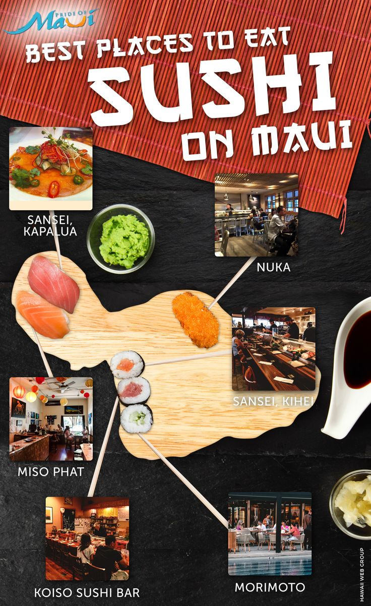 best sushi restaurants on maui- I know most of you don't like sushi, but I've gotta try some since it's supposed to be really authentic!