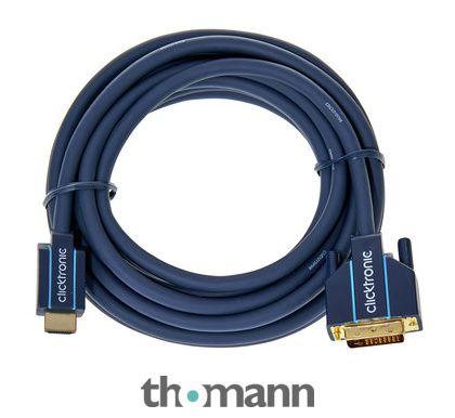 Câble d'appoint HDMI vers DVI  HDMI mâle vers DVI-D mâle, Longueur: 5 m, Contacts plaqués or, 19 broches HDMI > 24+1 broches DVI-D, Bande passante max: 195 MHz, Débit max: 4,95 Gbit/ sec, Résolution max: Full HD (1080p), QXGA (2048 x 1536), Double...
