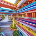 Nanyang Primary School and Kindergarten extension in Singapore looks like it's made of rainbow-colored lollipop sticks.