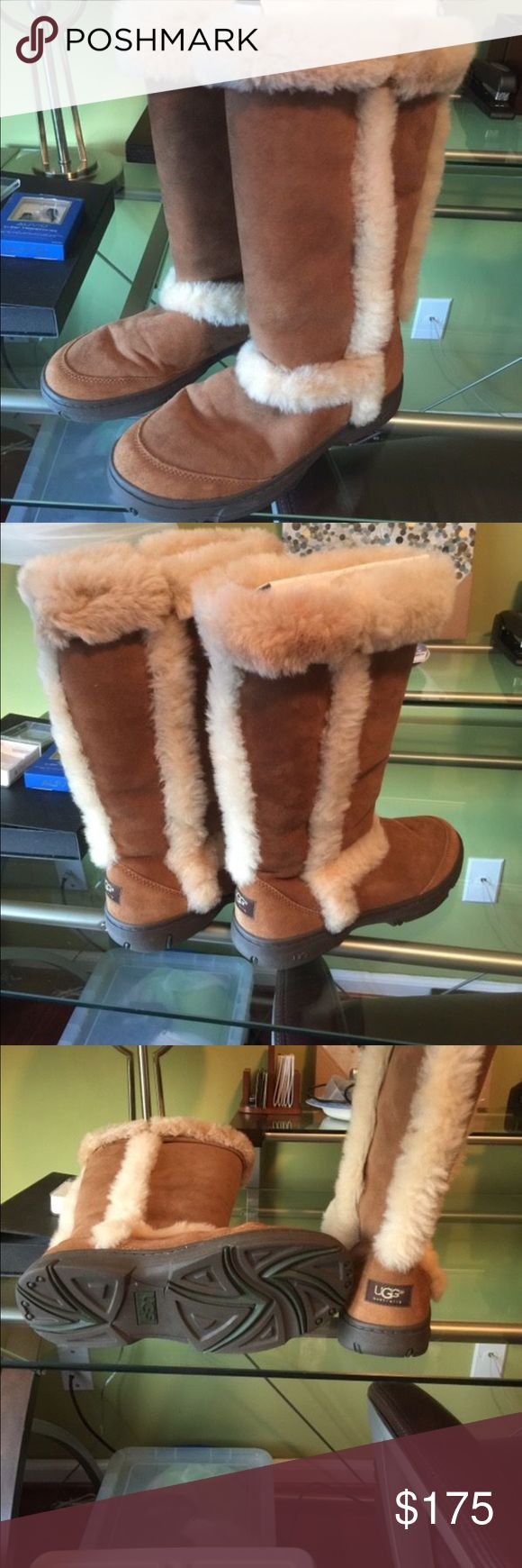 Sunburst Tall UGG Boots Sunburst Tall UGG Boots size 10. Fits like a 10.5. Practically new, I might have worn them once. I do not have the box anymore as I bought them in vacation a few years ago and didn't want to fly home with it. Paid $270 new, asking $175 obo! UGG Shoes Winter & Rain Boots