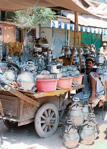 Street vendor at the Bazaar in Peshawar, Pakistan. Peshawar is the capital of Khyber Pakhtunkhwa province, located at the north-west end of Pakistan about 160 km west of the federal capital Islamabad.