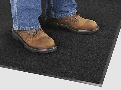 """3 x 4' Charcoal Standard Carpet Mat by Uline. $34.00. Carpet Mats - Standard - Stop tracking warehouse dust, dirt and grime into office areas. Plush 3/8"""" pile Olefin carpet gobbles up dirt and water and is easy on your feet. Vacuum, sweep or hose down to clean. Uline stocks a huge selection of Carpet Mats."""