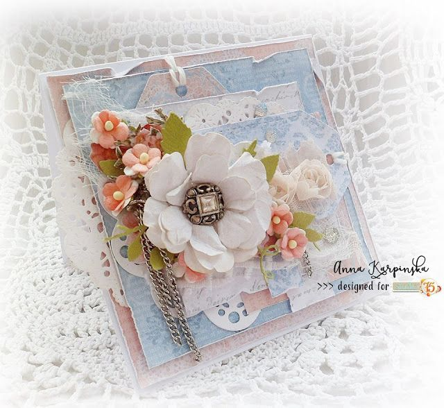 Beautiful multilayered card with hanmade flower