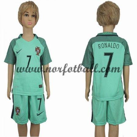 Portugal Fotballdrakter Barn UEFA EURO 2016 Cristiano Ronaldo 7 Kortermet Borte Draktsett Fotball