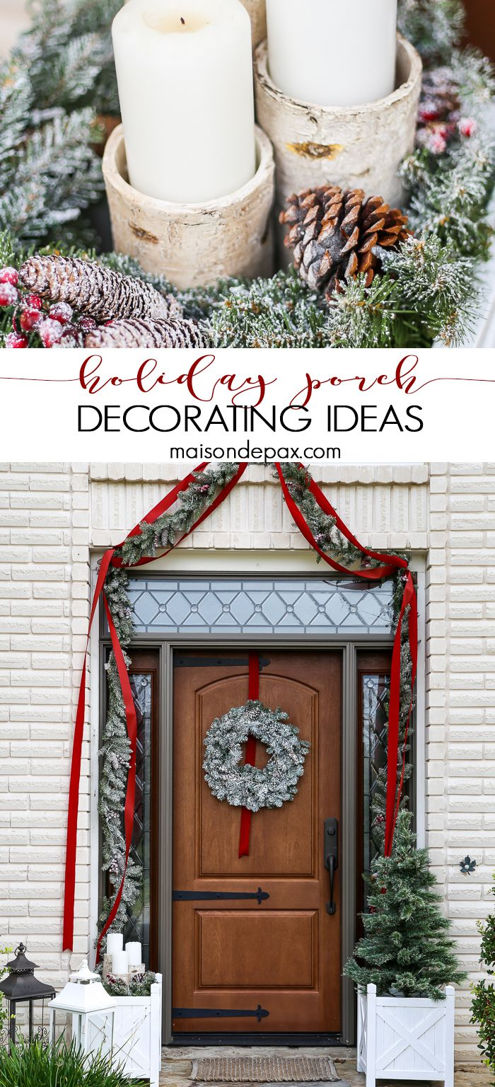 Front porch decorating ideas for winter - Greenery And Red Holiday Front Porch What A Beautiful Classic Look Get Christmas