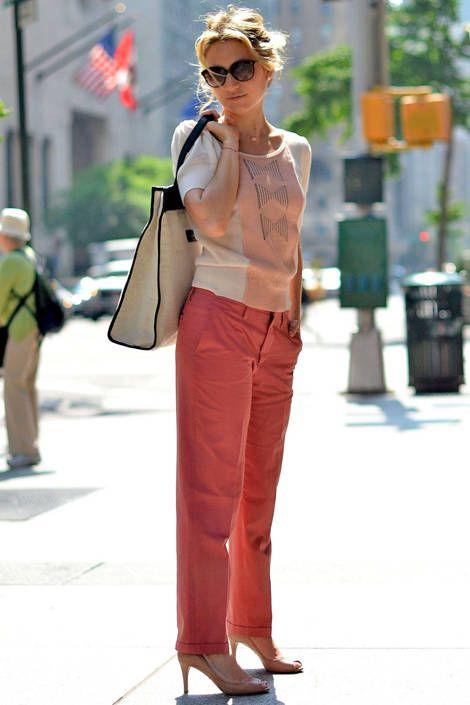 Who:  Lola Rykiel, PR Director of Sonia Rykiel What:  A pair of chino trousers balances the feminine flair of a bow-embellished top. Wear:  Sonia Rykiel top, pants, bag, Prada shoes   - ELLE.com