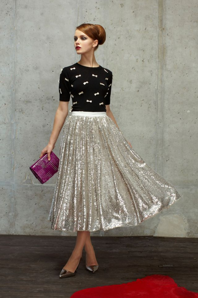 Silver Skirt | Black & Silver Sweater | Pretty Pentecostal | Apostolic Fashion | Modest is Hotest