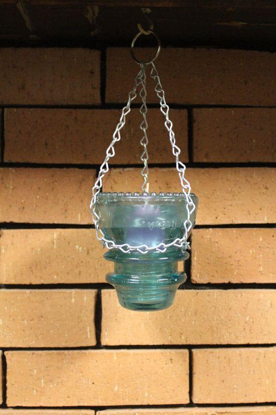 Repurposed Blue Hemingray 42 Electric Insulator Hanging by bak2oz, $9.00