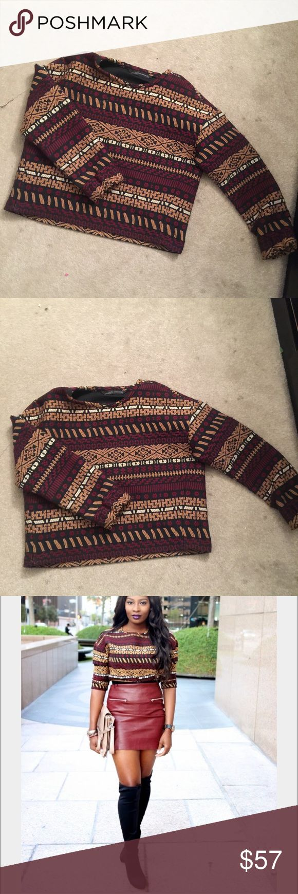 Zara tribal printed sweater Tribal print sweater Zara Sweaters Crew & Scoop Necks