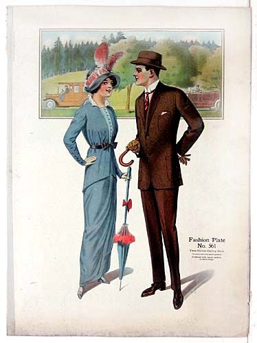1914 Fashion Plate from Men's Tailor's Fashion Sample book
