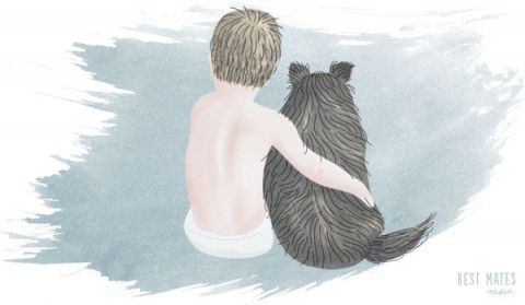 A boy and his dog illustration by Kitten Lane, hand-drawn, watercolor, digital art
