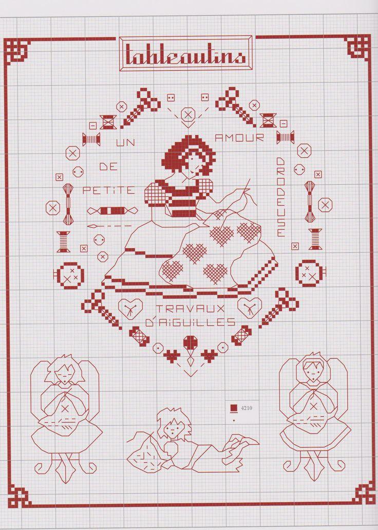 Seamstress motif: thread, scissors, etc....   nog mee letterbakpatroontjes