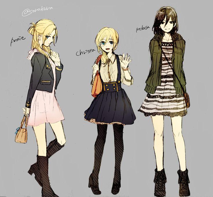 Annie, Historia, and Mikasa modern fashion