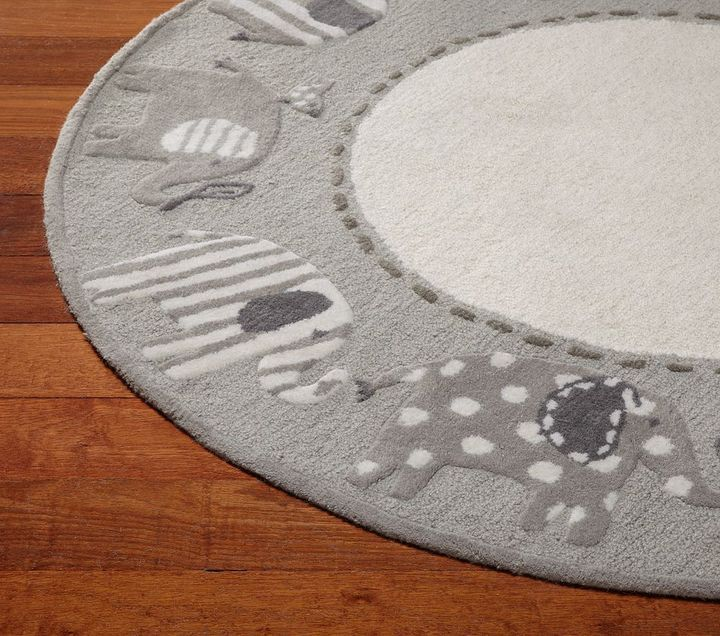 pottery barn elephant rug nursery