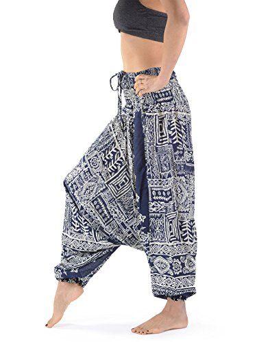 Handmade Ladies Baggy Trousers | Aztec Print Hippie Aladdin Harem pants for Women | Low Crotch | Hippie Trousers | Harem Trousers | Thai Trousers | Ladies Hippie Boho Pants | Bohemian Trousers | Indian Thai Buddhist | Festival Rave PArty Pants | Lounge Pants Trousers | Ladies Loungewear | Festival Trousers women | festival clothes Clothing for women (Blue)