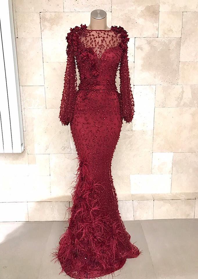 Fashion Abendkleider Lang Spitze Rot | Abiballkleid Mit Ärmel Modellnummer: XY486
