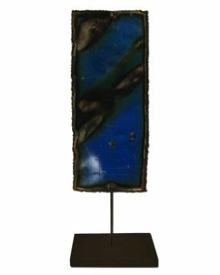 Groovystuff Rectangle Cobalt Metal Art Wall Plate on a Stand