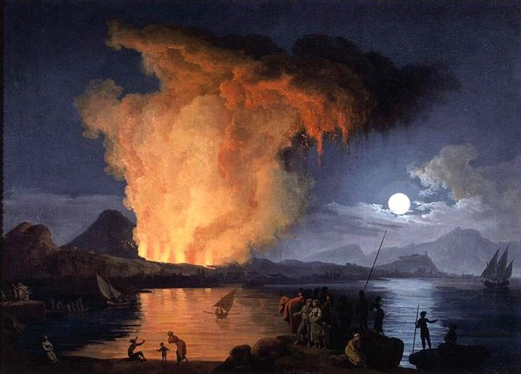 Image from http://upload.wikimedia.org/wikipedia/commons/5/52/Pierre-Jacques_Volaire_-_View_of_the_Eruption_of_Mount_Vesuvius_-_WGA25290.jpg.