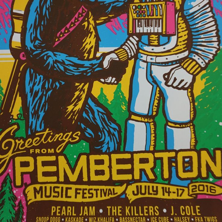 Pemberton Festival - 2016 Ames Brothers poster Pearl Jam Killers