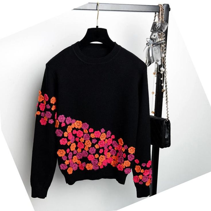 Luxury Brand Designer Runway Sweater Autumn Winter Fashion 3D Flowers Embroidery Silk Pullovers and Sweaters Tops WS-085