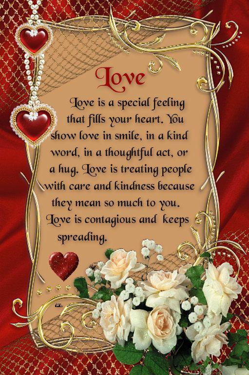 """✿⊱❥ """"O amor é um sentimento especial que enche seu coração. Você mostra o amor no sorriso, em uma palavra amável, em um ato pensativo, ou em um abraço. O amor é tratar as pessoas com cuidado e bondade, porque significam muito para você. O amor é contagioso e continua se espalhando."""""""