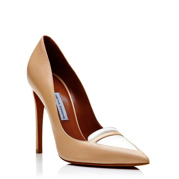 Tabitha Simmons Lexi Two-Tone Leather Pumps (€285) ❤ liked on Polyvore featuring shoes, pumps, heels, high heel pumps, white pointed toe pumps, white pointy toe pumps, white leather pumps and white slip on shoes