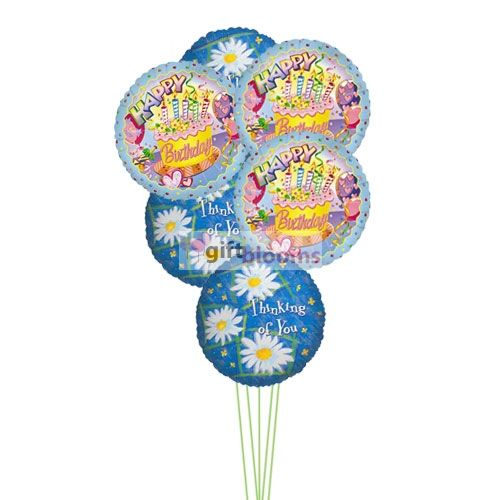 Price:  US$39.99    Make your sweet someone know that you are thinking of them on their special day by sending our birthday balloons. 6 Mylar balloons deliver in this arrangment