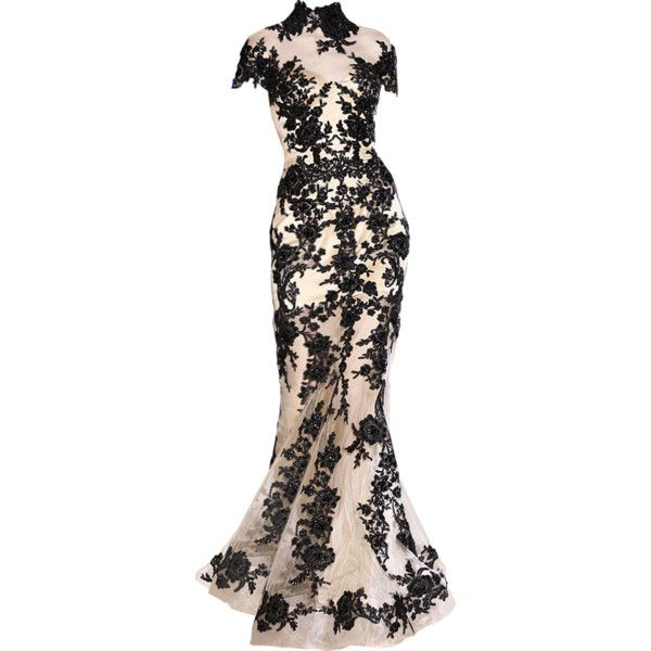 Zuhair Murad - edited by Satinee ❤ liked on Polyvore featuring dresses, gowns, vestidos, long dresses, black dress, black evening gowns, long black dress, murad and kohl dresses