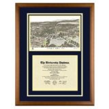 University of California Irvine Diploma Frame with UCI Lithograph Art PrintBy Old School Diploma Frame Co.