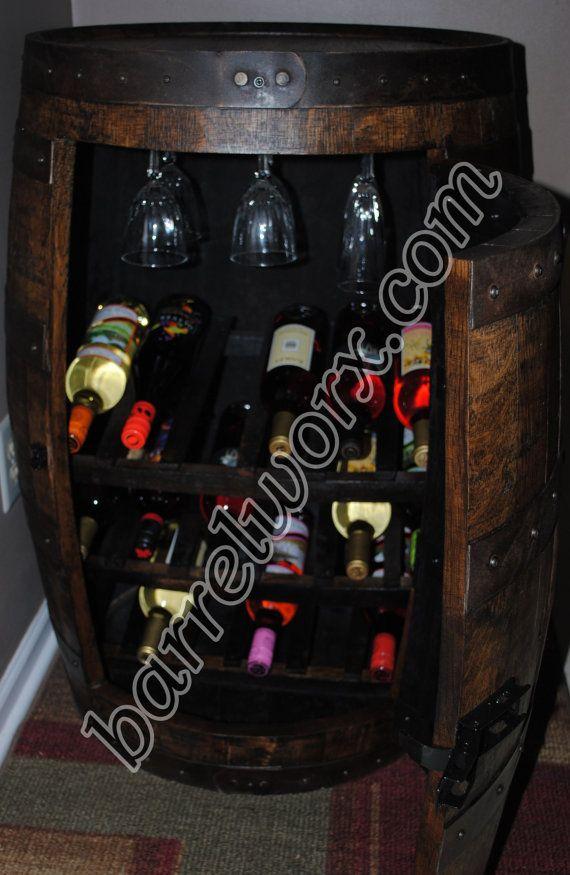 whiskey barrel wine rack cabinet