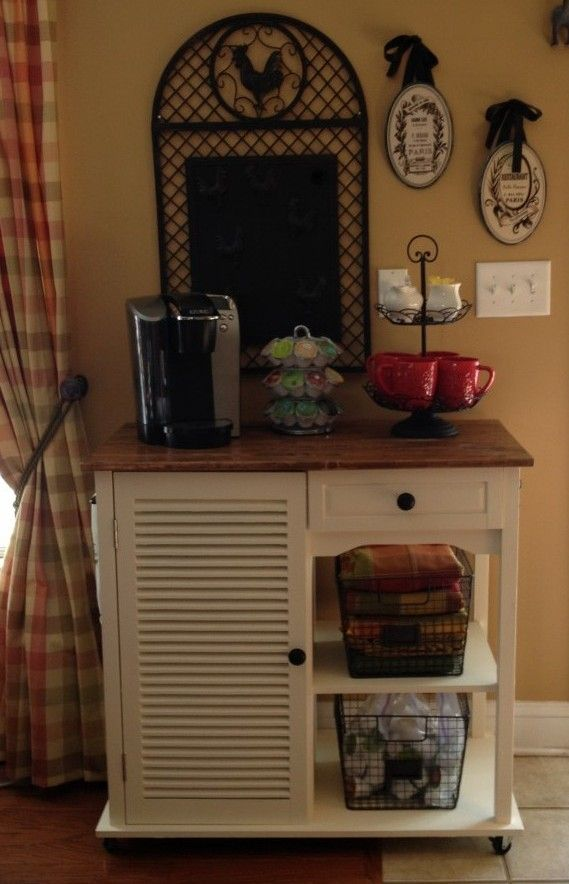 Kitchen Cart Re-do and Coffee Station