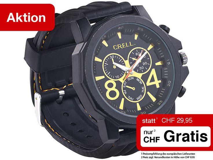 Mit dieser Metall-Armbanduhr im Chronographen-Look haben Sie dabei stets die richtige Zeit im Blick. Das präzise japanische Qualitäts-Uhrwerk macht aus Ihrem neuen Begleiter einen zuverlässigen Zeitmesser. Täuschend echt wirkende Chrono-Augen und die massive Bauweise verleihen ihm einen sportiven Look.  Exklusiv als Online-Kunde erhalten Sie diese sportliche Uhr heute GRATIS. Fordern Sie Ihr Geschenk gleich an…