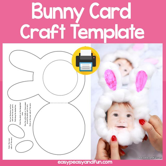 Bunny Card Easter Craft Template Easter Craft Templates Easter Bunny Crafts Bunny Crafts