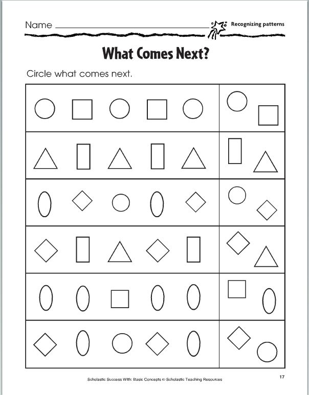Patterns For Kindergarten Worksheets  Kindergarten Preschool